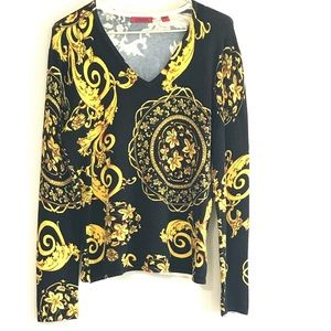 Venini Italian couture style black & gold sweater